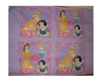 Disney Princess Snow White, Cinderella, Sleeping Beauty, Belle, Pillow Panel, Cotton Fabric, 1 Yard, OOP