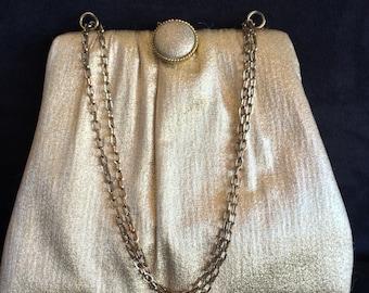 Gold Purse with Chain Handle, Gold Lame Handbag, HL USA Purse, , Small Gold Purse, Gold Mad Men Purse, Evening Bag, Vintage Gold Handbag