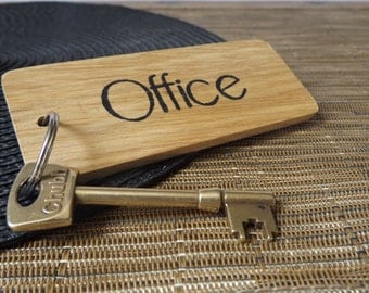 Office Keyring   Oak Wood Office Keychain   Work Keyring   Business Keyring    Office