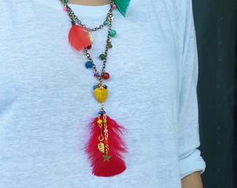 Feather Necklace with Antique Chain Necklace, Colorful Beads Jewelry, Colorful Necklace, Summer Jewelry, Dainty Necklace, Beaded Necklace