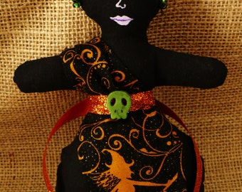 Pagan Princess Jean Hallo Ween Primative Doll - Hand Painted - OOAK