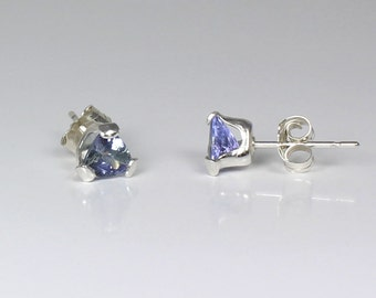 Natural Tanzanite Earrings Sterling Silver / Tanzanite Stud Earrings