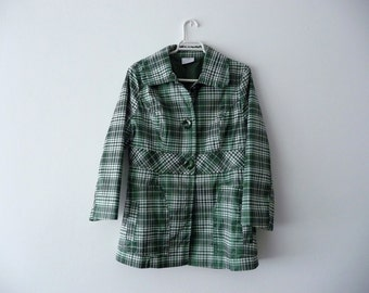 SALE. Woman green jacket. Green and white trench coat