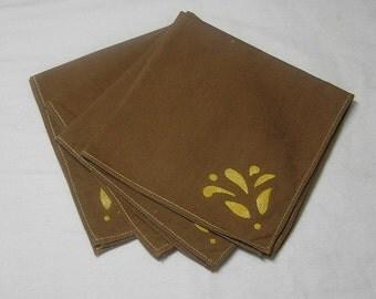 4, 1980s Vintage Tea, Luncheon or Bridge Napkins in Brown Cotton with Stenciled Gold Leaf Theme, Vintage Linens, Vintage Home Decor
