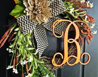 The Grand Fall Wreath With Vine Letter, Wreath for Thanksgiving, Chevron Burlap Wreath, Autumn Wreath, Fall Monogram Wreath, Fall Door Decor