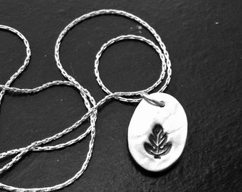 Oak Leaf Silver Charm -- Handcrafted, Debossed Nature Motif Pure Silver Pendant Necklace
