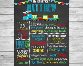 First Birthday Chalkboard Poster Printable- Train - First Birthday Chalkboard Printable Sign