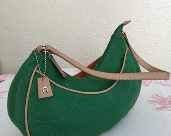 Vintage Etienne Aigner Purse, Hobo Bag, Emerald Green Canvas, 1990s Shoulder Bag