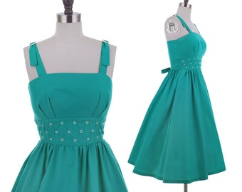 Circle The Globe Dress / 1980's Vintage FULL SKIRT Teal Blue Cotton Swing Bombshell Summer Sundress 50s Style Fit and Flare Midi Dress XS/S