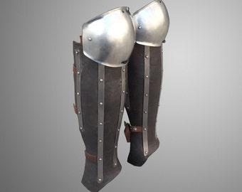 Leather&Steel Legs Armor Splinted Greaves With Knee
