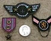 3 Assorted Military Costume Patches - Fun pinks & army greens, metal stars and Chain hanging off  - Iron On Patches
