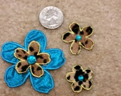 3 Assorted Turquoise & Leopard Print Flowers w/ Turq Rhinestones - Iron On Patches