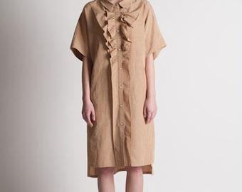 40% Season Off_Blue Moon Linen Loose Fitting Shirts Dress_Suntan Beige