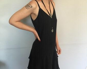 Jenny Banta 3 tiered black slip style dress with spaghetti straps