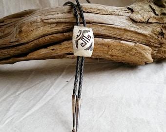 Native American Jewelry, Sterling Silver Bolo, Native American Bolo Tie, Handmade Silver Bolo Tie, Vintage Native American Bolo Tie Pendant