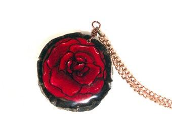 Rose Pendant, Wooden Rose Pendant, Red Rose Pendant, Wooden Pendant, Wooden Jewelry, Rose Necklace, Wood Burned Pendant, Wood Burned Jewelry