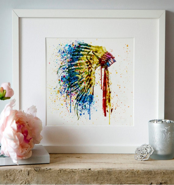 native american feather headdress watercolor painting wall art. Black Bedroom Furniture Sets. Home Design Ideas