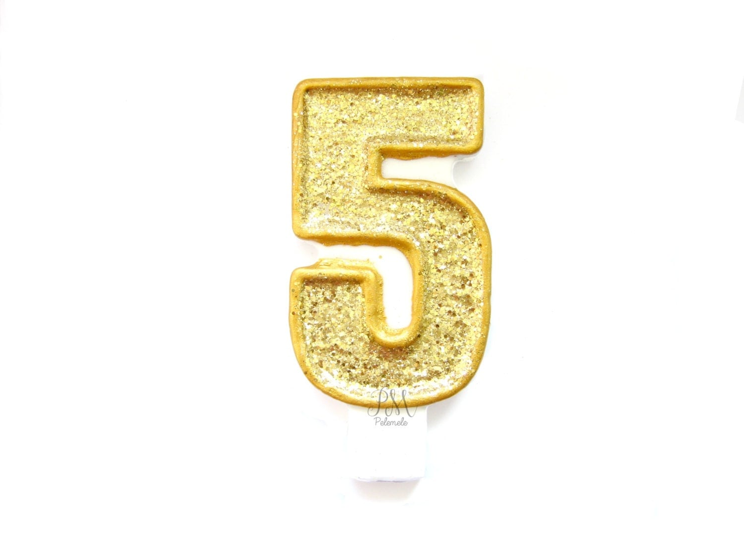 Giant Gold Glitter Number 5 Birthday Candle Birthday