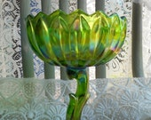 Vintage Indiana Glass Lime Green Carnival Iridescent Lotus Blossom Compote