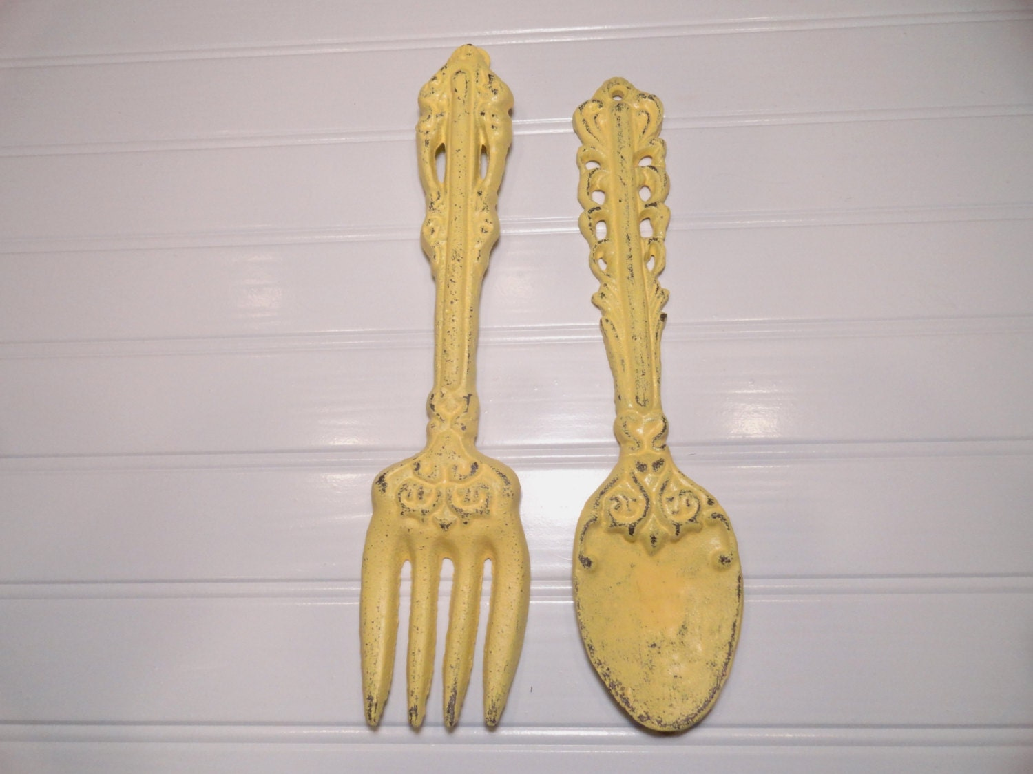 Large Fork And Spoon Wall Decor Yellow Utensil Wall By