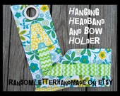 Personalized Handmade Hair Bow Keeper Hanger Holder Turquoise Lime and Yellow Applique Letter Monogram Sewn Chevron ribbon Gift