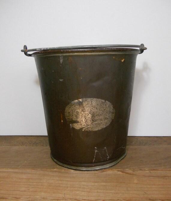 Vintage metal farm bucket milk pail by simplefolksue on etsy for Old metal buckets