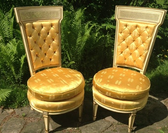 SALE! PAIR of Hollywood regency chairs, RARE, vintage,small, french, tufted, upholstered, gold, caned, round, yellow,gorgeous, glamour,