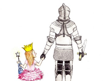 Princess and her Knight | ART PRINT - Father & Daughter Gift