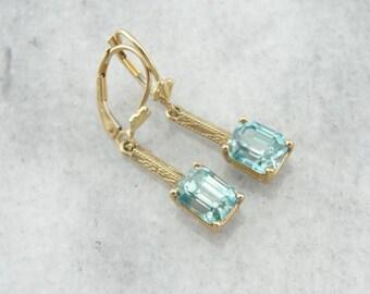 Stunning Art Nouveau And Modern Era Blue Zircon Earrings A0KLRT-D