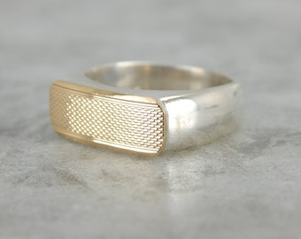 Modern Textured Yellow Gold and Sterling Silver Ring EL3FQQ-R
