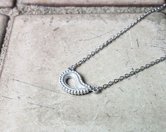 sterling silver  paisley necklace silver 925 pendant chain