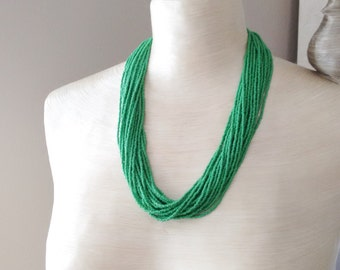 Kelly green necklace, seed bead necklace, green statement necklace,multistrand necklace,bridesmaid gift, beaded necklace,gift idea,wedding