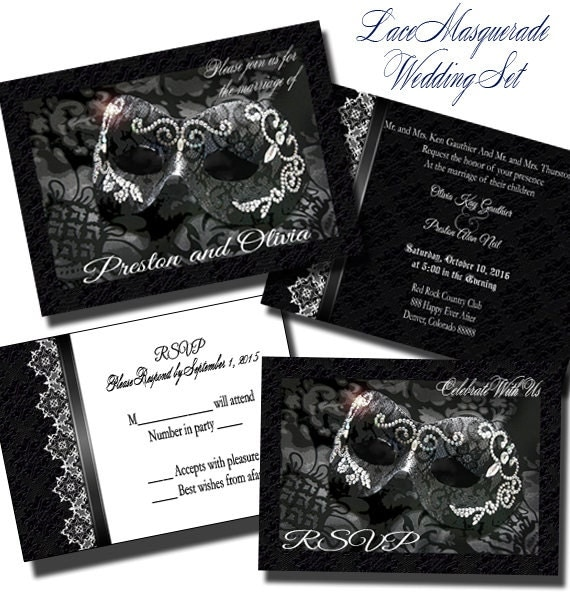lace masquerade wedding invitation set wedding invitation, Wedding invitations