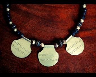 Tuareg Amulet Necklace with Rustic Ceramic Beads