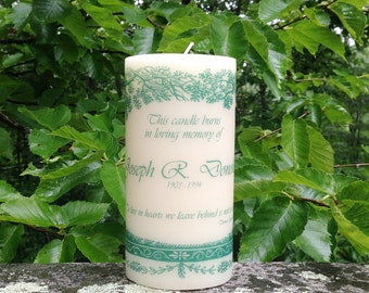 Evergreen Memorial Candle; Personalized Candles; Sympathy Gift; In Loving Memory; Memory Candle; Wedding Memorial Candle; Memorial Gift