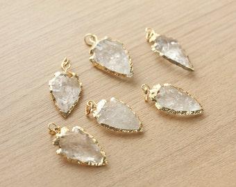 1 pcs of Clear Quartz Arrowhead Pendant With Gold Plated Pendant - Gemstone Pendants
