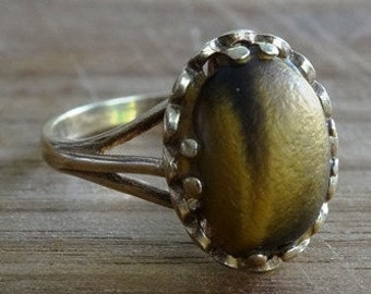 Unique Vintage Ladies Tigers Eye Statement Ring in 9ct Yellow Gold FREE POSTAGE