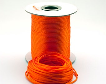 Vivid Orange Satin Cord 2 mm, Satin Rattail Cord, Cord for Jewelry Making, Orange Necklace Cord, 10 Meters (11Yards)