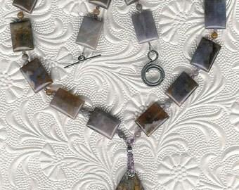 Mauve'n On Up - Pietersite Pendant, Purple Agate, Amethyst, Sterling Silver Necklace