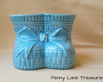 Vintage Baby Booties Planter ~ Blue ~ Florists Planter ~ 1960's ~ Ceramic ~ Container ~ Jardiniere ~ Pottery