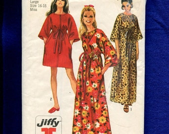 1960's Simplicity 8551 Jiffy Caftans with Zipper Front  Size Large 16/18