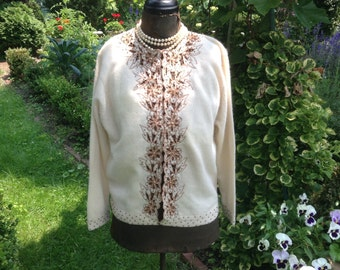 Vintage Sweater Beaded Cream with Gold Embroidery and Beads