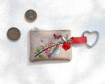 """Keychains / mini wallet in flax shown """"little bird"""""""