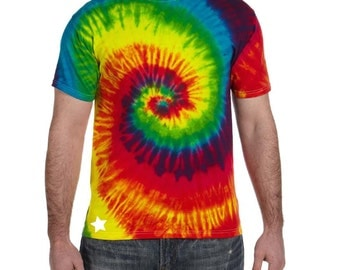 UNISEX RAINBOW Tie Dye Shirt Vibrant Dyes Summer Colors // Camp Shirts Birthday Shirts
