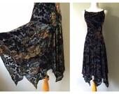 Vintage 90s Velvet Dress Floral Chiffon Full Petal Handkerchief Skirt Drop Waist Dress Strappy 1920s Flapper Style Dress Size XS Small Mediu