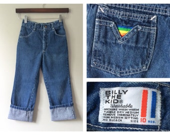 Vintage Billy the Kid Child's Denim Jeans 1960s 1970s Kids Denim Rainbow Embroidered Pockets Blue Jeans Cuffed Clothing Size 6 8 10 Regular