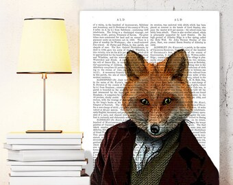 Fox Portrait 2 - Fox illustration, Fox Print Fox Picture Fox Art Wall Art Wall Decor Wall Hanging fox in suit, fox poster dictionary print
