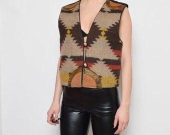 Vintage 80's Navajo Ornaments Vest