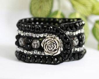 Black Rose, Beaded Leather Cuff, 5 Row Bracelet, Silver, Beaded Bracelet, Leather Wrap Bracelet, Boho Jewelry, Button Bracelet, Stacked