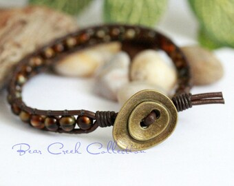 MENS Brown Leather Bracelet, Wrap Bracelet, Bohemian Hippie Bracelet, Beaded Brown Bracelet